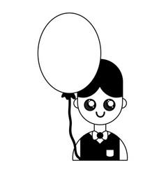Contour nice boy with uniform clothes and balloon vector