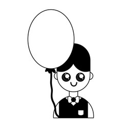 contour nice boy with uniform clothes and balloon vector image