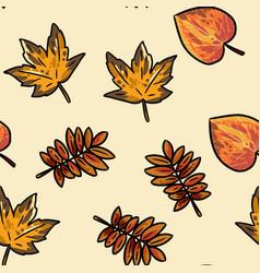 Cute autumn leaves cartoon seamless pattern fall vector