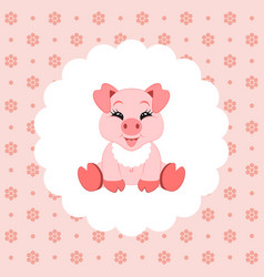 cute baby pig in bib icon vector image