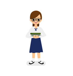 cute girl thai student holding books vector image