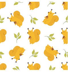 cute seamless pattern with funny yellow squirrels vector image