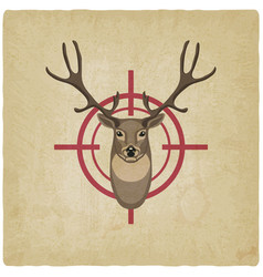 deer head on red target vintage background vector image