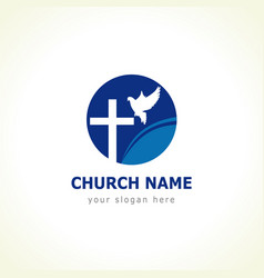 Dove cross church logo vector
