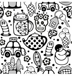 Endless pattern with cartoon characters vector