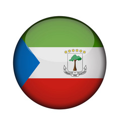 equatorial guinea flag in glossy round button of vector image