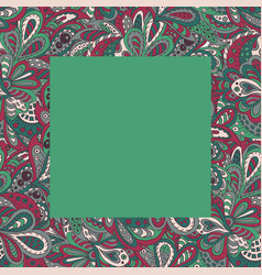 Floral doodle ethnic pattern frame green for vector