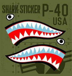Flying tiger warhawk usa shark mouth sticker vector