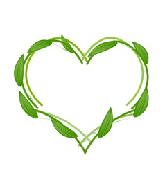 Fresh Green Leaves Forming in Heart Shape vector image
