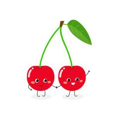 funny cartoon cherry vector image