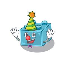 Funny clown lego brick toys cartoon character vector