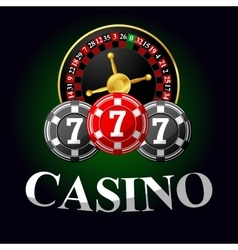 Gambling icon with chips and roulette vector