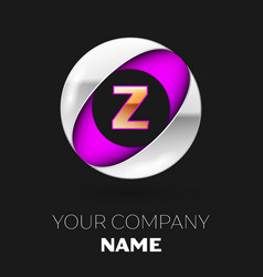 golden letter z logo in the silver-purple circle vector image