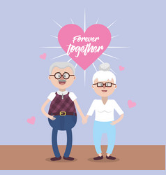 grandparents together with glasses and hairstyle vector image