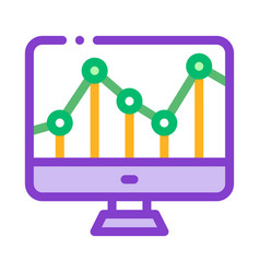 graph on computer monitor financial icon vector image