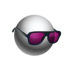 gray ball wearing sunglasses isolated on white vector image