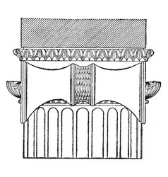 Greek ionic order side view samos vintage vector