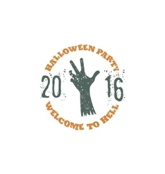 Halloween party label template with zombie hand vector image