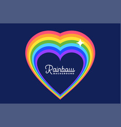 heart love rainbow with star background design vector image