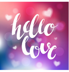 Hello love romantic phrase photo overlay vector