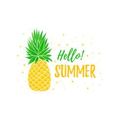 Hello summer banner template pineapple bright vector