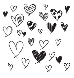 image a hand drawn doodle linear heart icon vector image