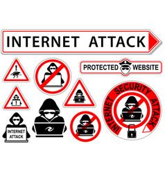 internet attack signs or icons vector image