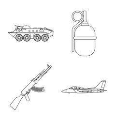 Isolated object of weapon and gun symbol set of vector
