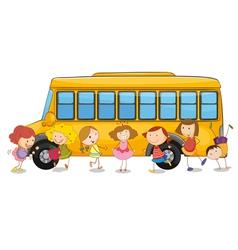 kids and school bus vector image vector image