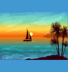 landscape with palms and ship vector image