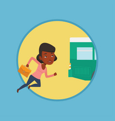 latecomer woman running for the bus vector image