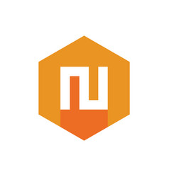 letter n logo icon orange and yellow color vector image