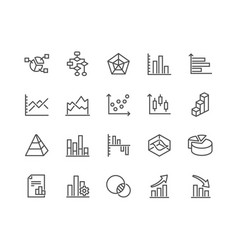 line charts and diagrams icons vector image