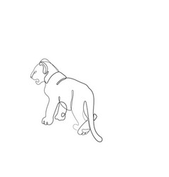 Lion cub one line drawing vector
