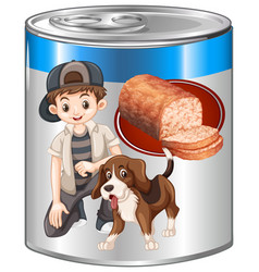 Meatloaf for pet dog in can vector