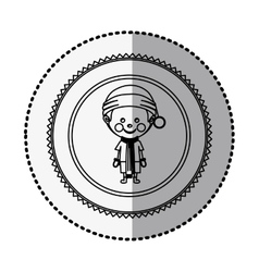 Monochrome circle with middle shadow sticker with vector