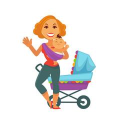 motherhood baby care happy mother and newborn vector image