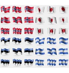 Norway Japan Estonia Nicaragua Set of 36 flags of vector