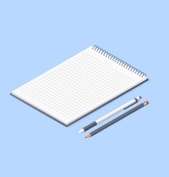 Opened notepad with pencil and pen sketchbook vector