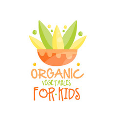organic vegetables for kids logo design healthy vector image