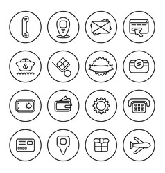 Outline commercial icon set vector