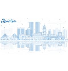 Outline shantou china city skyline with blue vector