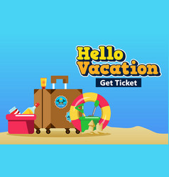 packing suitcase for beach vacation poster vector image