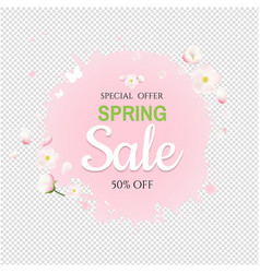 pink stain with flowers sale banner transparent vector image