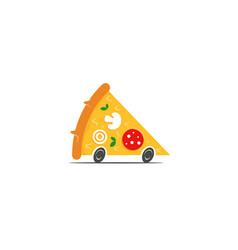pizza delivery logo concept slice pizza vector image