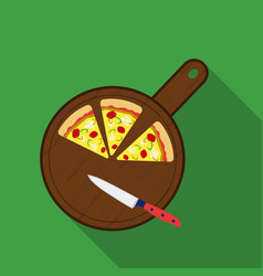 Pizza on cutting board icon in flat style isolated vector