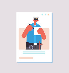 police officer in uniform writting fine labor day vector image