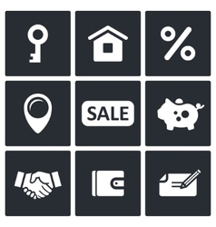 Real Estate Deal icon collection vector image
