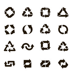 recycle round icons recycling arrow sign organic vector image