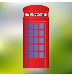 Red phone booth abstract green background eps10 vector